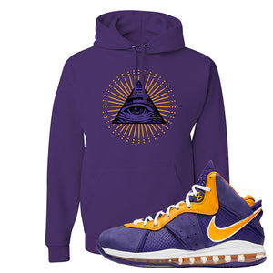 Lebron 8 Lakers Hoodie | All Seeing Eye, Purple