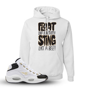 Reebok Question Mid Black Toe Hoodie | White, Float Like A Butterfly Lettering