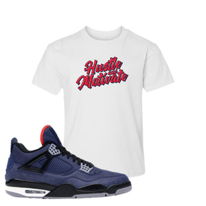 Jordan 4 WNTR Loyal Blue Hustle And Motivate White Sneaker Hook Up Kid's T-Shirt