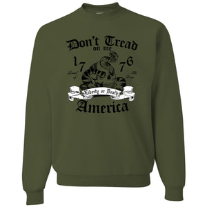 Standard Issue Don't Tread On Me Snake with Skull Military Green Grunt Life Crewneck Sweater