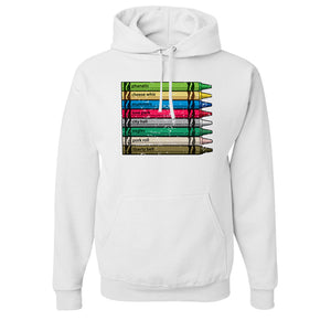 Philly Crayons Pull Over Hoodie | Colors of Philly Crayons White Pullover Hoodie the front of this hoodie has the crayons of philly design