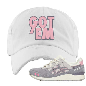 END x Asics Gel-Lyte III Grey And Pink Distressed Dad Hat | Got Em, White