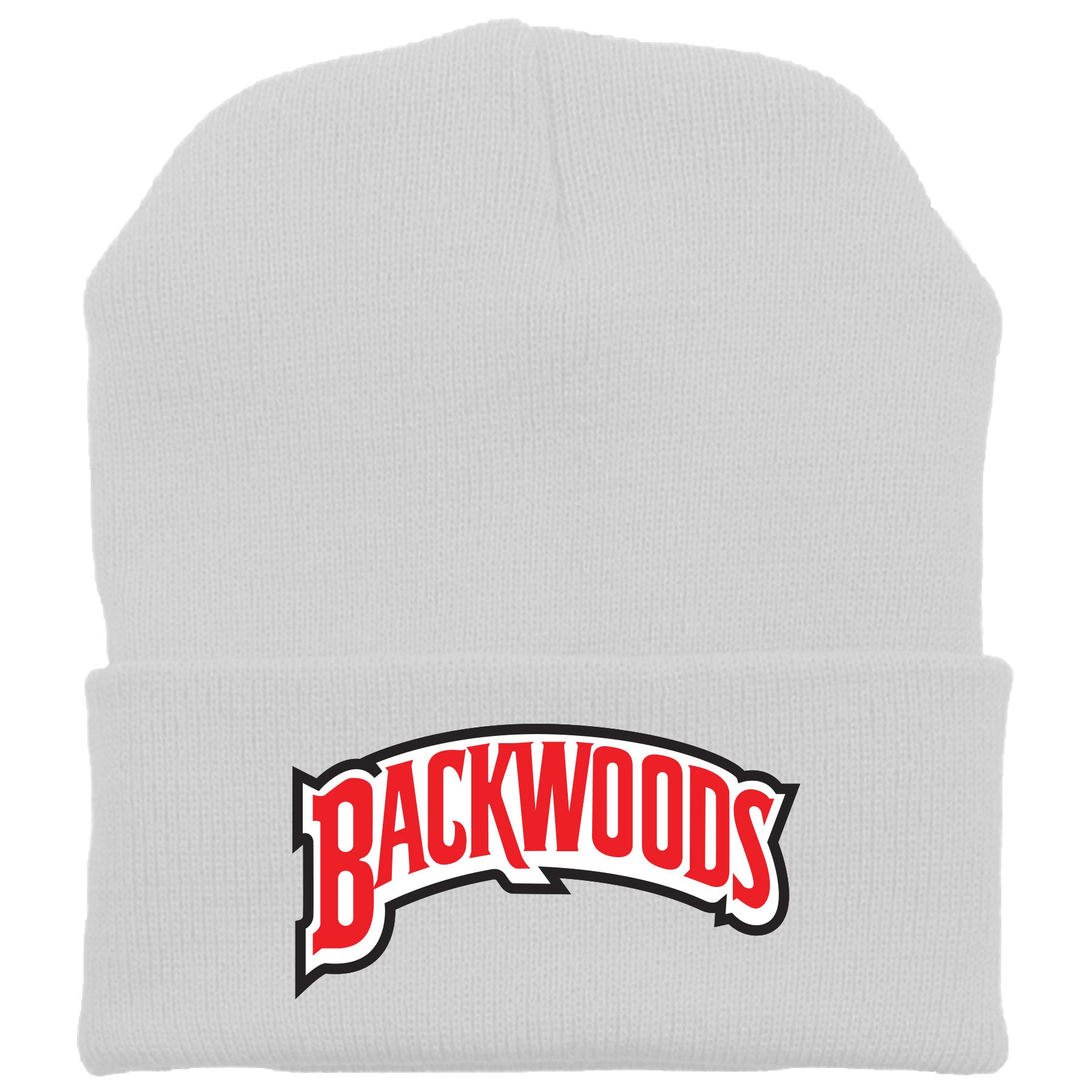 Embroidered on the front of the Backwoods Russian Cream white beanie is the  Backwoods logo embroidered 4a84c9645bef