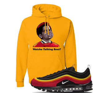 Air Max 97 Black//Chile Red/Magma Orange/White Sneaker Gold Pullover Hoodie | Winter Mask to match Nike Air Max 97 Black//Chile Red/Magma Orange/White Shoes | Watchu Talkin Bout