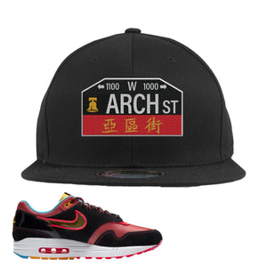 Air Max 1 NYC Chinatown Arch Street Philadelphia Black Snapback Hat To Match Sneakers