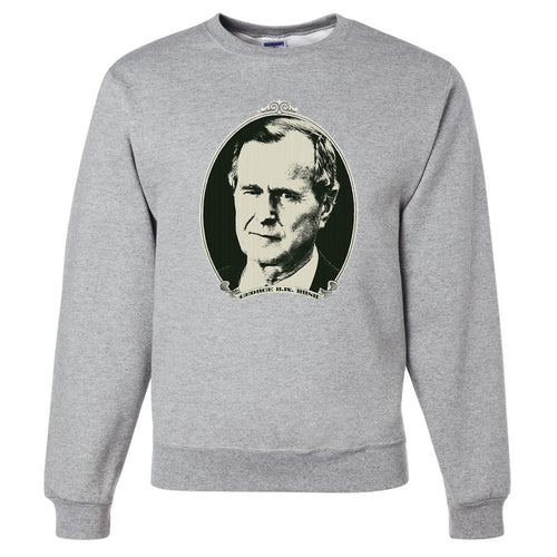 Standard Issue George H.W. Bush Dollar Bill Light Gray Grunt Life Crewneck Sweater