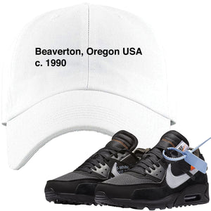 Wear this Nike Air Max 90 OFF-WHITE Black sneaker matching dad hat to put the finishing touches on your OFF-WHITE sneaker matching outfit today