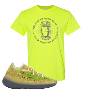 Yeezy Boost 380 Hylte Glow T Shirt | Cash Rules Everything Around Me, Safety Green