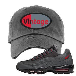 Air Max 95 Dark Gray and Red Distressed Dad Hat | Vintage Oval, Dark Gray