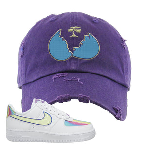 Air Force 1 Low Easter Distressed Dad Hat | Lavender, Broken Egg