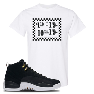 Taxi Fare White T-Shirt To Match Jordan 12 Reverse Taxi Sneakers