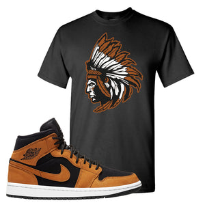 Air Jordan 1 Mid Wheat T Shirt | Indian Chief, Black