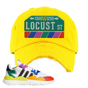 Nite Jogger 'Pride' Distressed Dad Hat | Yellow, Locust Street Sign