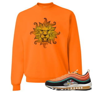 Printed on the front of the Air Max 97 Sunburst safety orange sneaker matching crewneck sweatshirt is the Vintage lion head logo