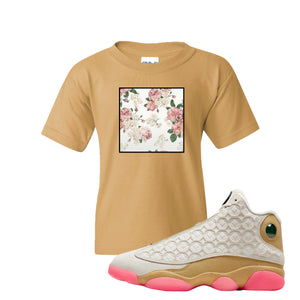 Jordan 13 Chinese New Year 2020 Flower Box Old Gold Kid's T-Shirt to match Jordan 13 Chinese New Year Sneaker
