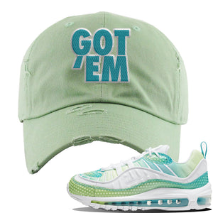 WMNS Air Max 98 Bubble Pack Sneaker Sage Green Distressed Dad Hat | Hat to match Nike WMNS Air Max 98 Bubble Pack Shoes | Got Em