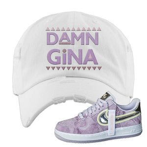 Air Force 1 P[her]spective Distressed Dad Hat | White, Damn Gina
