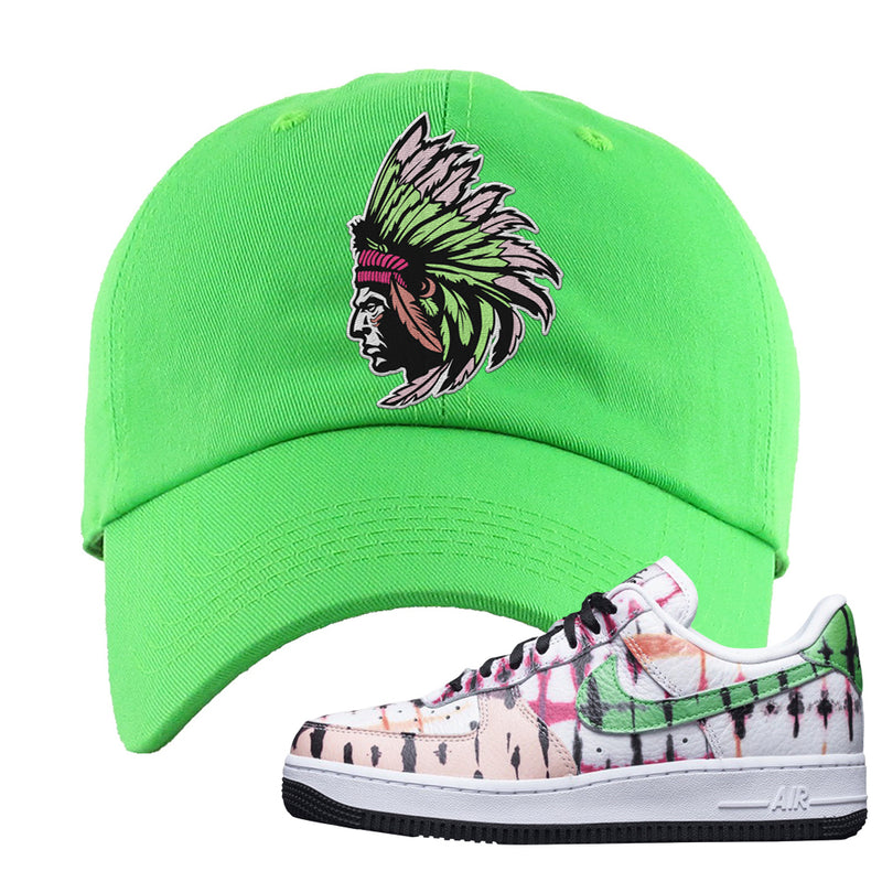 Air Force 1 Low Multi-Colored Tie-Dye Dad Hat | Neon Green, Indian Chief