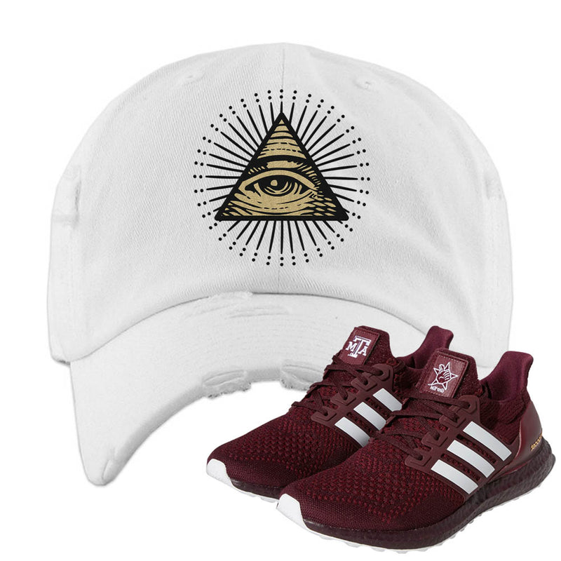 Ultra Boost 1.0 Texas A&M Distressed Dad Hat | All Seeing Eye, White