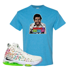 Lebron 17 Air Command Force T Shirt | Heather Sapphire, Escobar Illustration