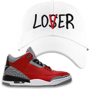 Jordan 3 Red Cement Dad Hat | White, Lover
