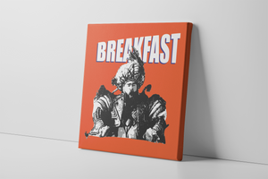 Kelce Breakfast Canvas | Jason Kelce Breakfast Orange Wall Canvas the front of this canvas has the jason kelce breakfast design