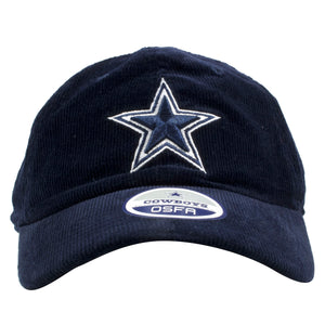 embroidered on the front of the dallas cowboys corduroy dad hat is the cowboys logo in navy blue and white