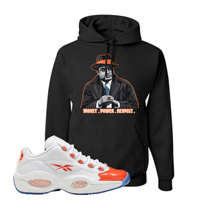 Question Low Vivid Orange Hoodie | Capone Illustration, Black