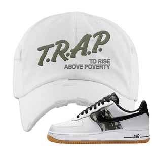 Air Force 1 Low Camo Distressed Dad Hat | Trap To Rise Above Poverty, White