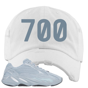 Yeezy Boost 700 V2 Hospital Blue 700 Sneaker Matching White Distressed Dad Hat