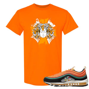 Printed on the front of the safety orange Air Max 97 Sunburst sneaker matching t-shirt is the medusa logo