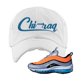 Air Max Plus Sky Nike Distressed Dad Hat | White, Chiraq