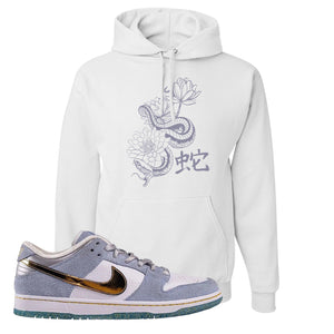 Sean Cliver x SB Dunk Low Hoodie | Snake Lotus, White