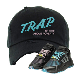 Ninja x adidas Nite Jogger Distressed Dad Hat | Trap To Rise Above Poverty, Black