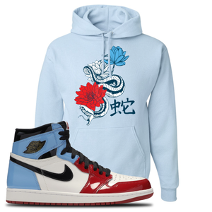 Air Jordan 1 Fearless Snake Lotus Light Blue Made to Match Pullover Hoodie