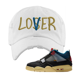 Union LA x Air Jordan 4 Off Noir Distressed Dad Hat | Lover, White