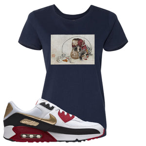 Air Max 90 Chinese New Year Women's T Shirt | Navy Blue, Japanese Rat Party