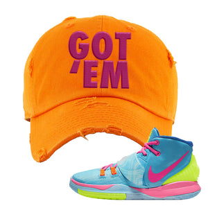 Kyrie 6 Pool Distressed Dad Hat | Orange, Got Em