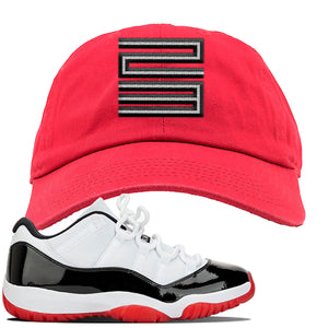 Jordan 11 Low White Black Red Sneaker Red Dad Hat | Hat to match Nike Air Jordan 11 Low White Black Red Shoes | Jordan 11 23
