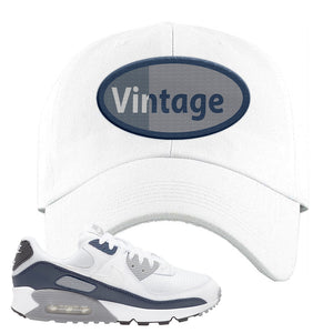 Air Max 90 White / Particle Grey / Obsidian Dad Hat | White, Vintage Oval
