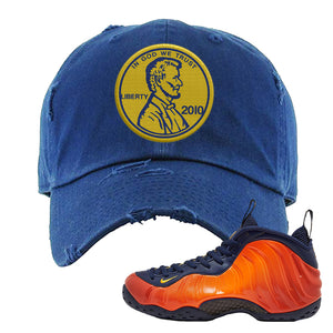 Foamposite One OKC Distressed Dad Hat | Navy Blue, Penny