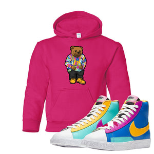 Blazer Mid Big Kids Hoodie | Heliconia, Sweater Bear