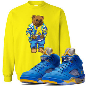 This yellow sweater will match great with your Jordan 5 Alternate Laney JSP shoes