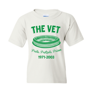 The Vet Pride, Pretzels, Prison Kid's T-Shirt | Veterans Stadium White Children's Tee Shirt the front of this kids t-shirt has the vet stadium