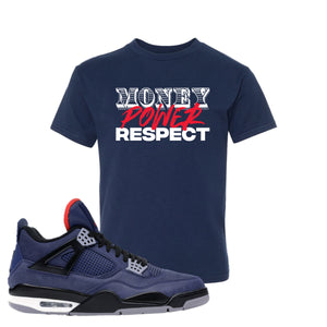 Jordan 4 WNTR Loyal Blue Money, Power, Respect Navy Sneaker Hook Up Kid's T-Shirt