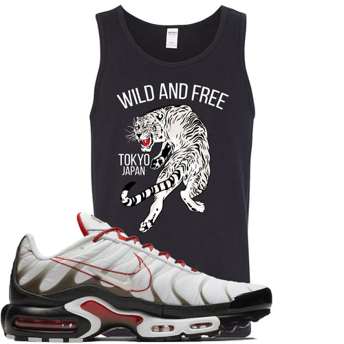 Nike Air Max Plus White University Red Sneaker Match Tiger Black Mens Tank Top