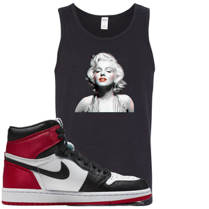 Air Jordan 1 WMNS Satin Black Toe Sneaker Hook Up Marilyn Monroe Black Mens Tank Top