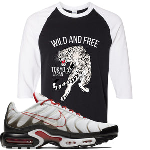 Nike Air Max Plus White University Red Sneaker Hook Up Tiger Black and White Raglan T-Shirt