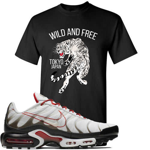 Nike Air Max Plus White University Red Sneaker Match Tiger Black T-Shirt