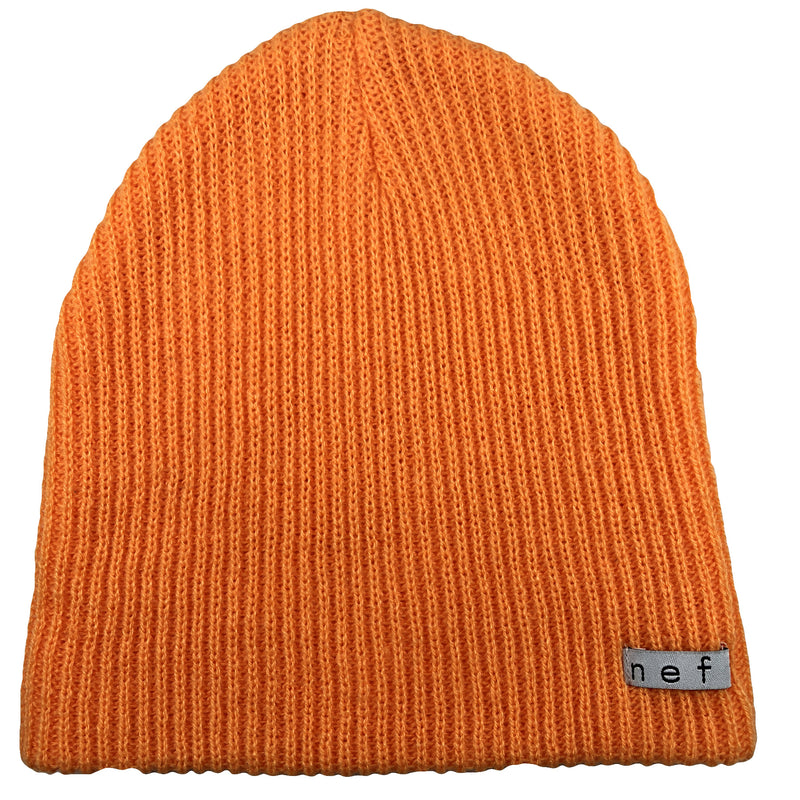 the orange neff beanie is a bright orange color and made of a stretchy material that allow sit to fit all sizes
